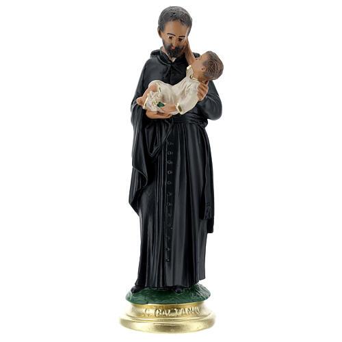 Saint Gaëtan statue 25 cm plâtre peint main Arte Barsanti 1