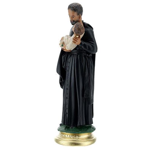 Saint Gaëtan statue 25 cm plâtre peint main Arte Barsanti 3