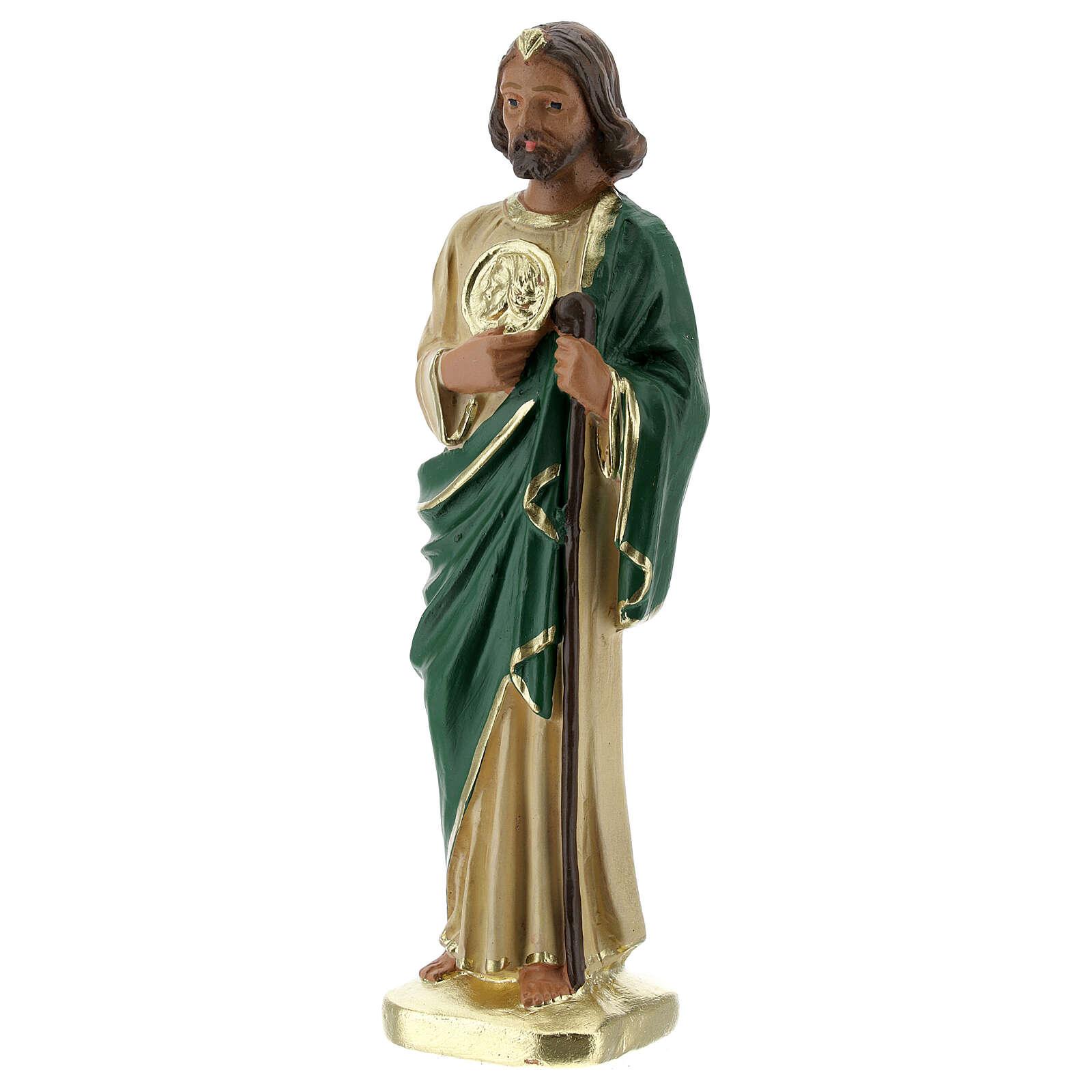 San Judas estatua yeso 15 cm pintada a mano Arte Barsanti 4