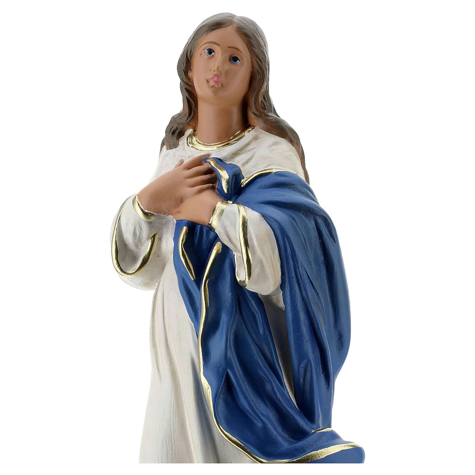Madonna Immacolata del Murillo 40 cm gesso dipinto Barsanti 4