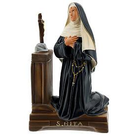 St. Rita Cascia kneeling hand painted plaster statue Arte Barsanti 22x14 cm