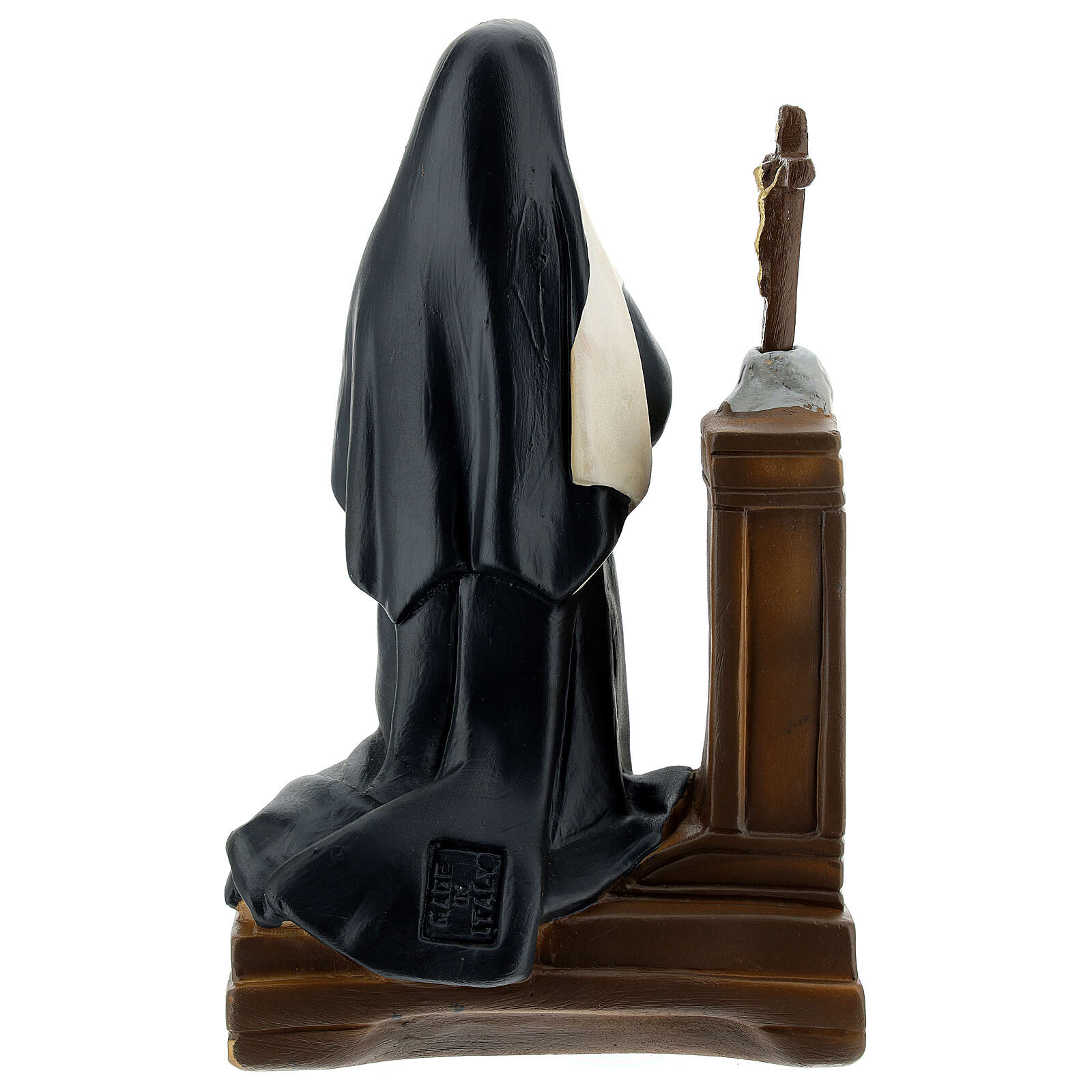 Saint Rita of Cascia on her knees 9x5 1/2 in plaster statue Arte Barsanti 4