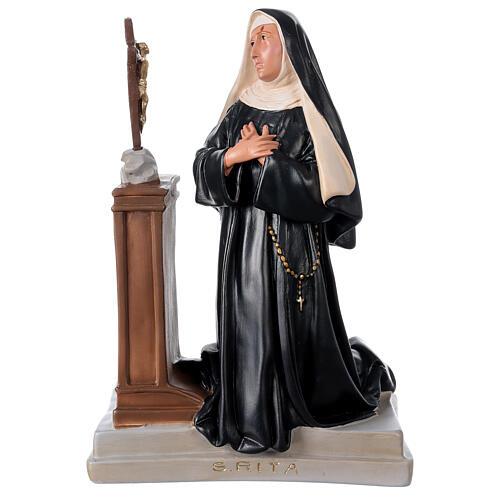 Estatua Santa Rita Casia de rodillas 40x28 cm yeso Arte Barsanti