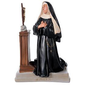 Statue Sainte Rita Cascia agenouillée 40x28 cm plâtre Arte Barsanti s1