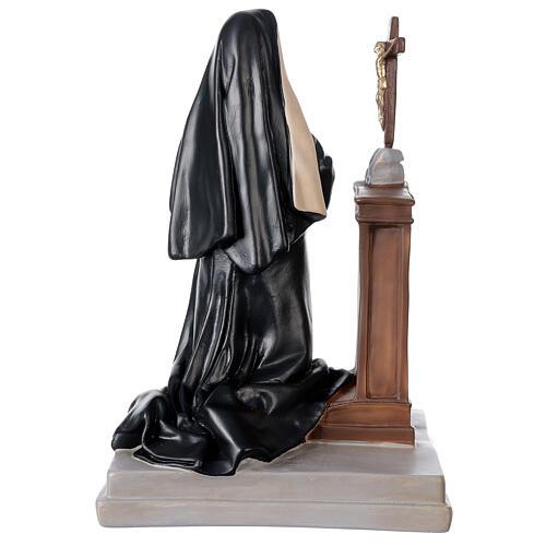 Statue Sainte Rita Cascia agenouillée 40x28 cm plâtre Arte Barsanti 5