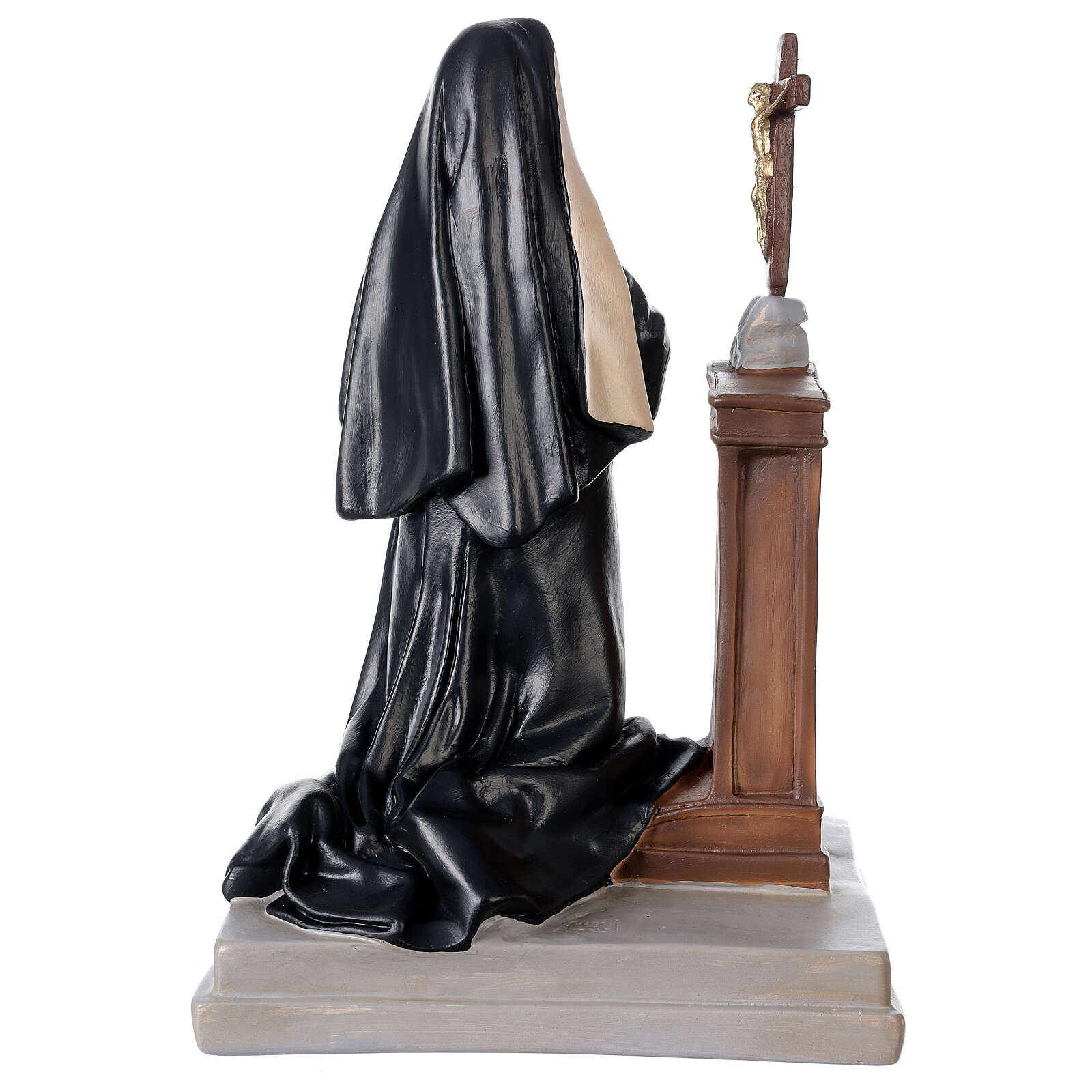 Statua Santa Rita Cascia inginocchiata 40x28 cm gesso Arte Barsanti 4