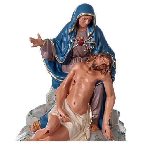 Pietà Nossa Senhora e Jesus imagem gesso pintada à mão 30x30 cm Arte Barsanti