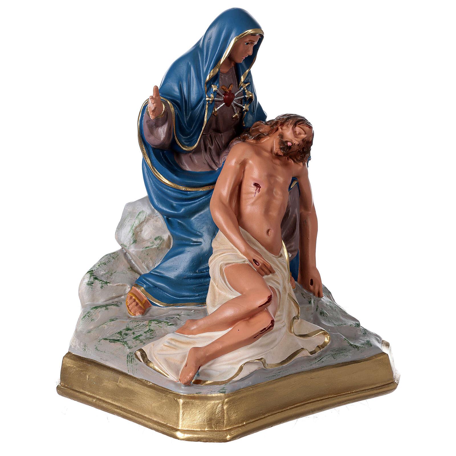 Plaster statue Pietà 12x12 in hand-painted Arte Barsanti 4