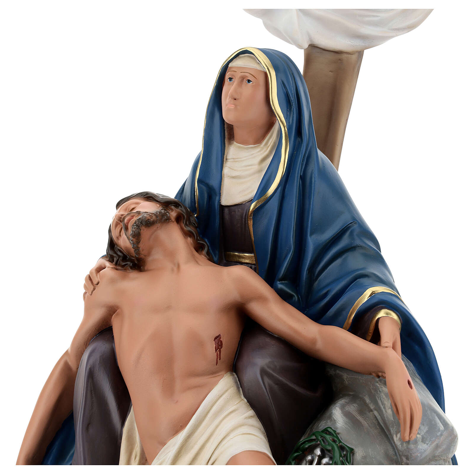 La Piedad estatua resina cruz 60 cm pintada a mano Arte Barsanti 4