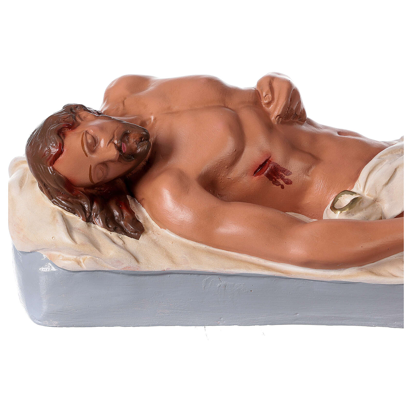 Dead Christ plaster statue 6x18 in hand-painted Arte Barsanti 4