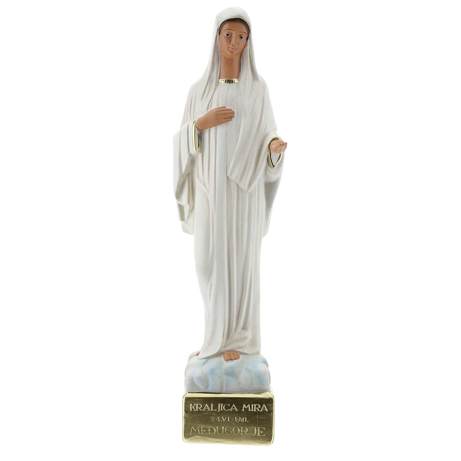 Our Lady of Medjugorje statue, 44 cm hand painted plaster Arte Barsanti 4