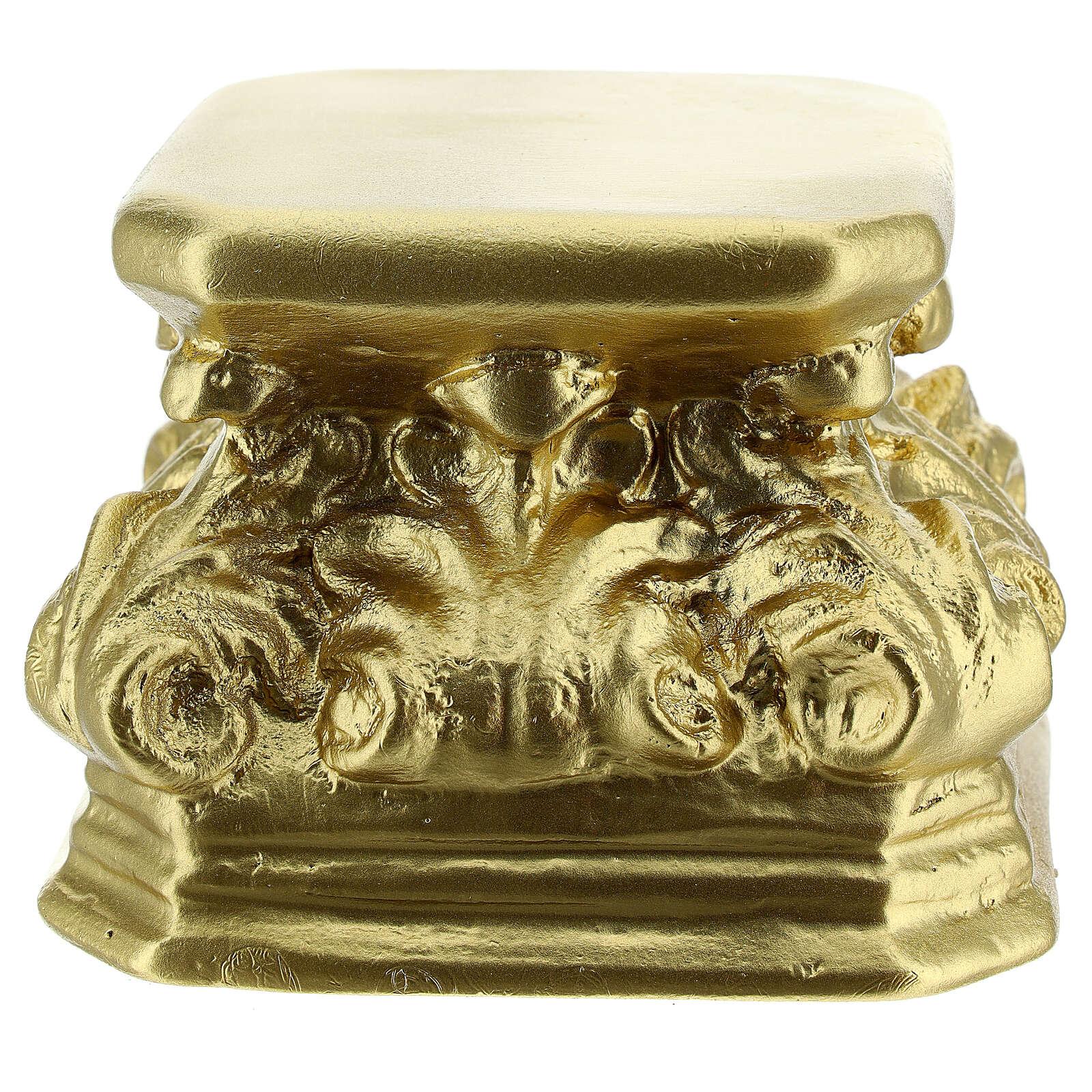 Base for statues golden plaster 4x4x3 1/2 in Arte Barsanti 4