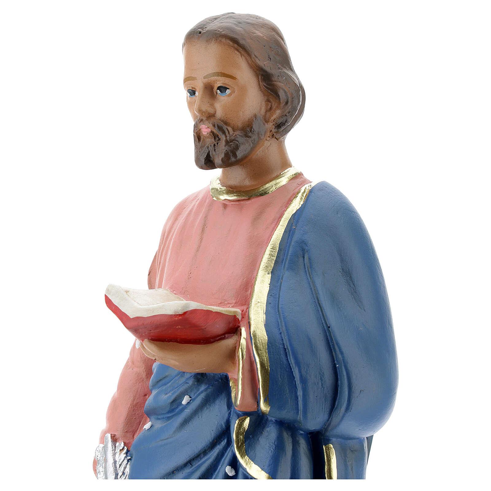Saint Marc statue plâtre 30 cm peinte main Arte Barsanti 4