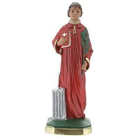 Saint Laurent statue plâtre 20 cm peinte main Arte Barsanti s1