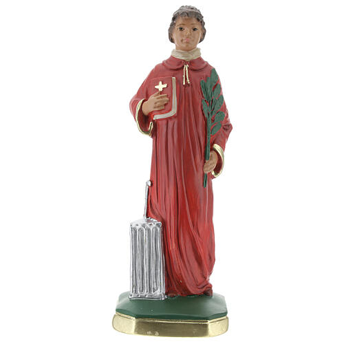 Saint Laurent statue plâtre 20 cm peinte main Arte Barsanti 1