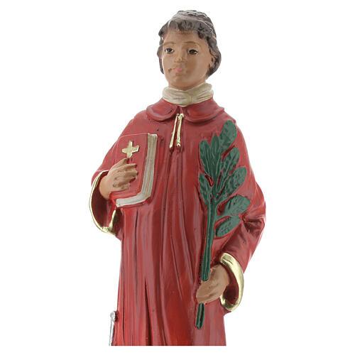 Saint Laurent statue plâtre 20 cm peinte main Arte Barsanti 2