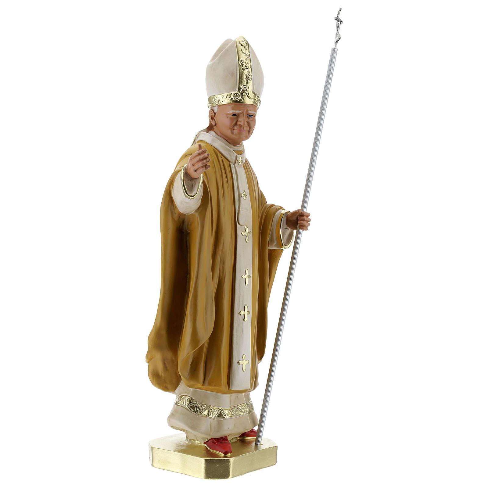 Pape Jean-Paul II 40 cm statue plâtre peint main Barsanti 4