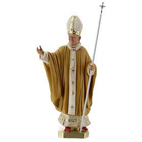 Pape Jean-Paul II 40 cm statue plâtre peint main Barsanti s1