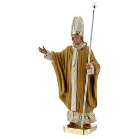 Pape Jean-Paul II 40 cm statue plâtre peint main Barsanti s3