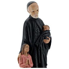 Estatua San Vincenzo de Paoli 30 cm yeso pintado a mano Barsanti s2