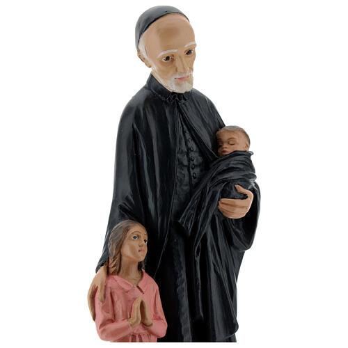 Estatua San Vincenzo de Paoli 30 cm yeso pintado a mano Barsanti 2