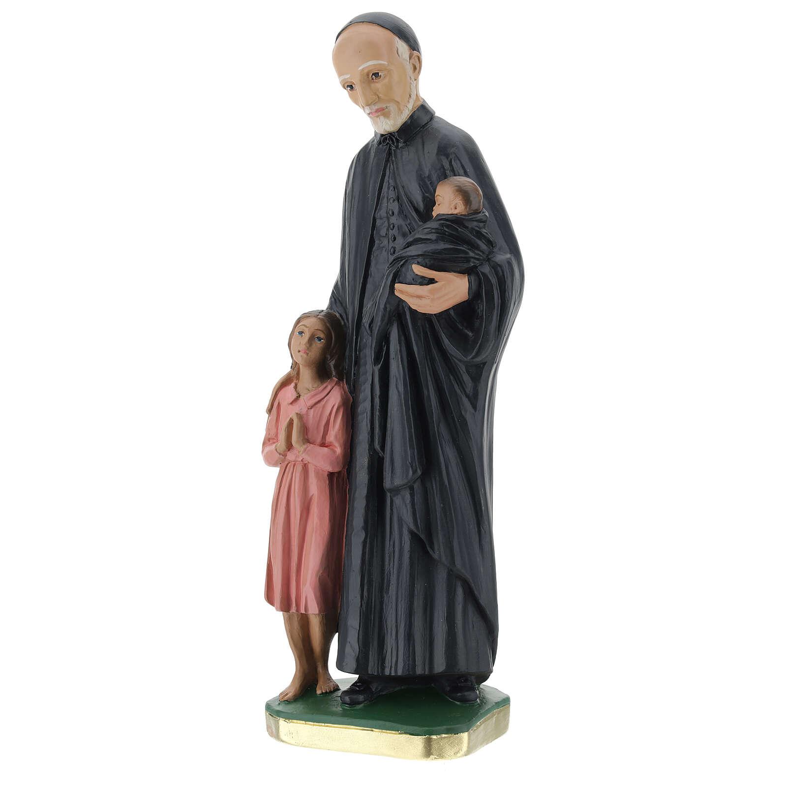 Statue Saint Vincent de Paul 30 cm plâtre peint main Barsanti 4