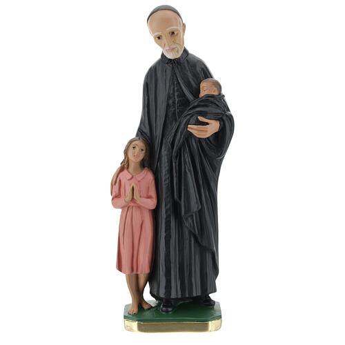 Statua San Vincenzo de Paoli 30 cm gesso dipinto a mano Barsanti 1