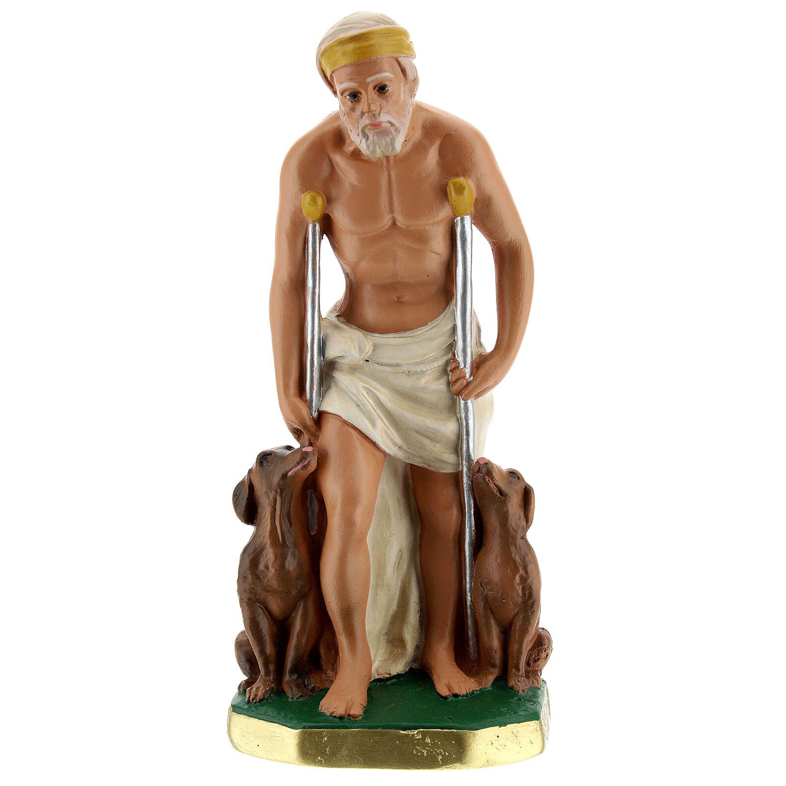 Saint Lazare statue plâtre 20 cm peint main Arte Barsanti 4