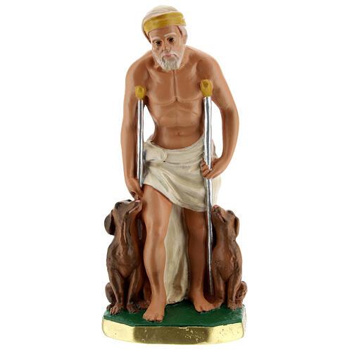Saint Lazare statue plâtre 20 cm peint main Arte Barsanti 1