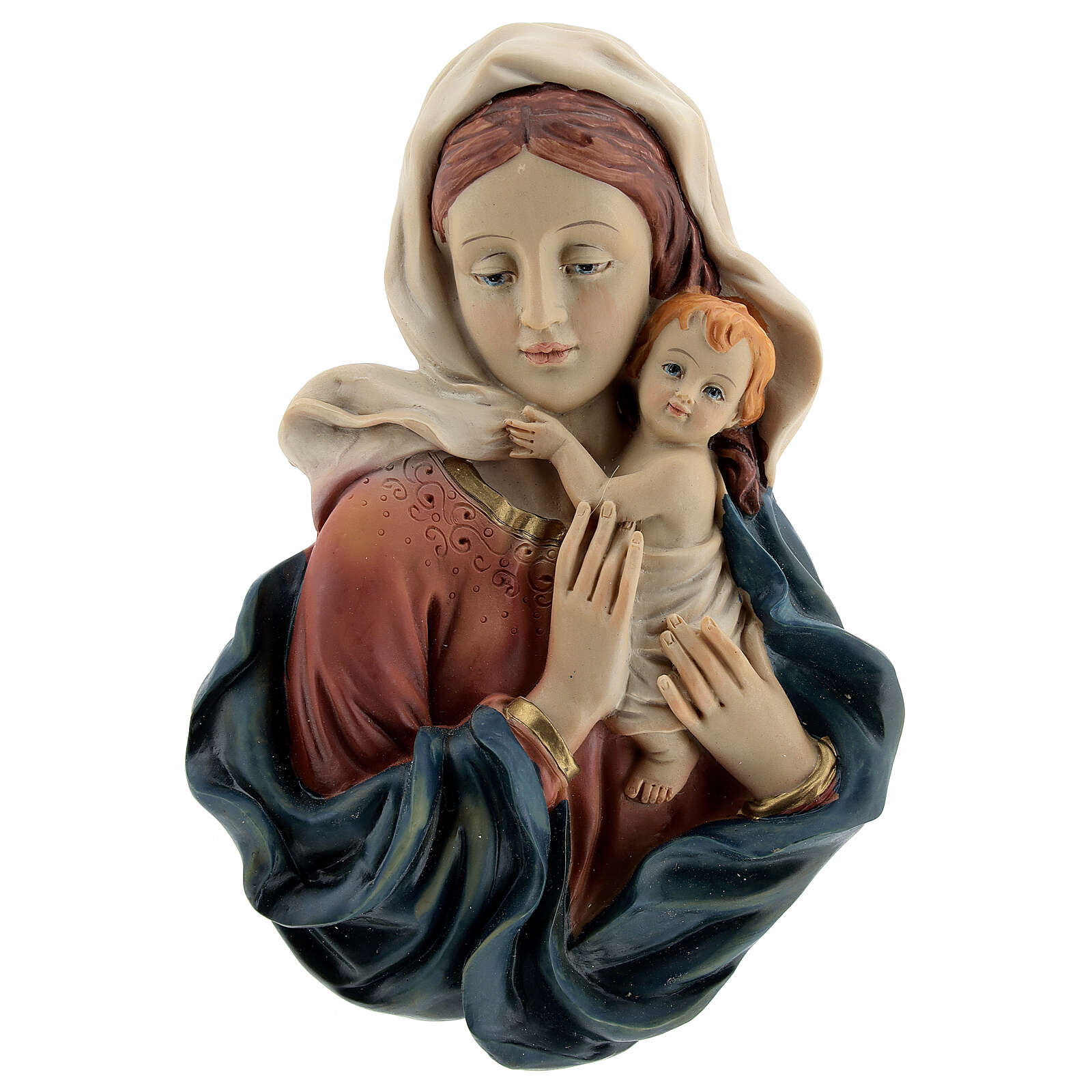 Bust of the Virgin and Baby draping resin statue 18 cm 4