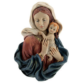 Bust of the Virgin and Baby draping resin statue 18 cm s1