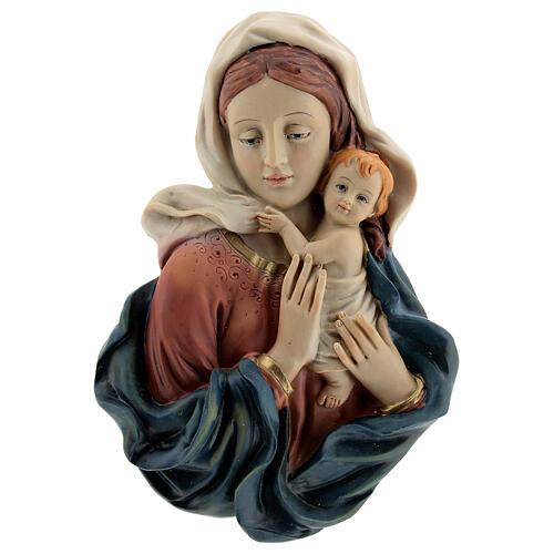 Buste Vierge à l'Enfant draperie statue résine 18 cm 1
