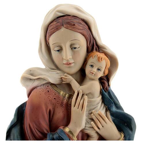 Buste Vierge à l'Enfant draperie statue résine 18 cm 2