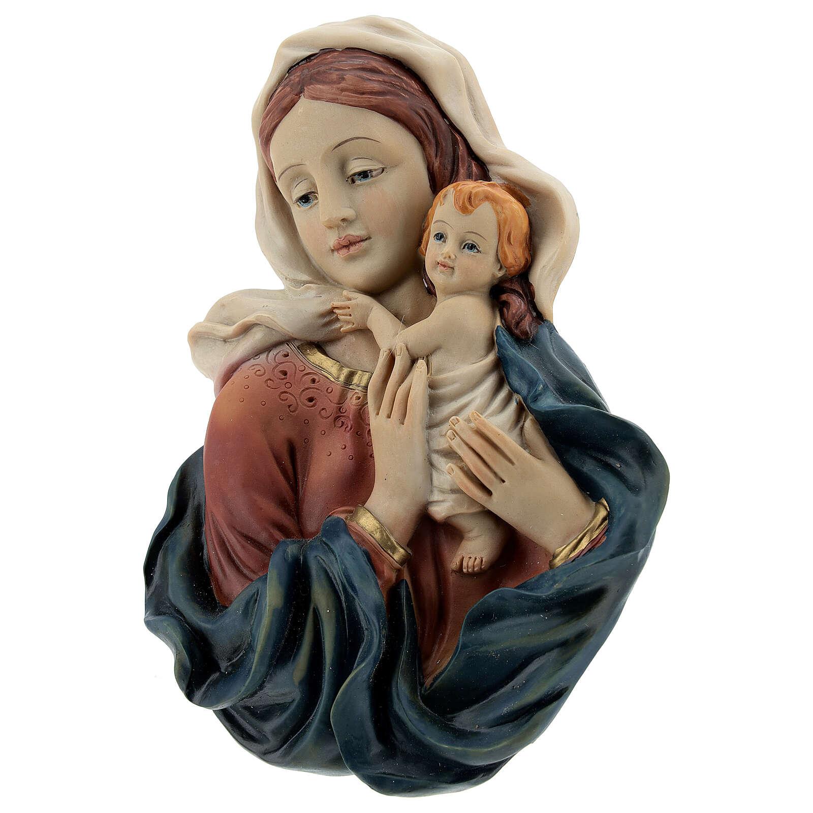 Busto Madonna Bambino drappeggio statua resina 18 cm 4