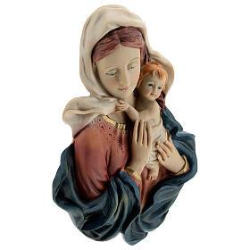 Busto Madonna Bambino drappeggio statua resina 18 cm s4