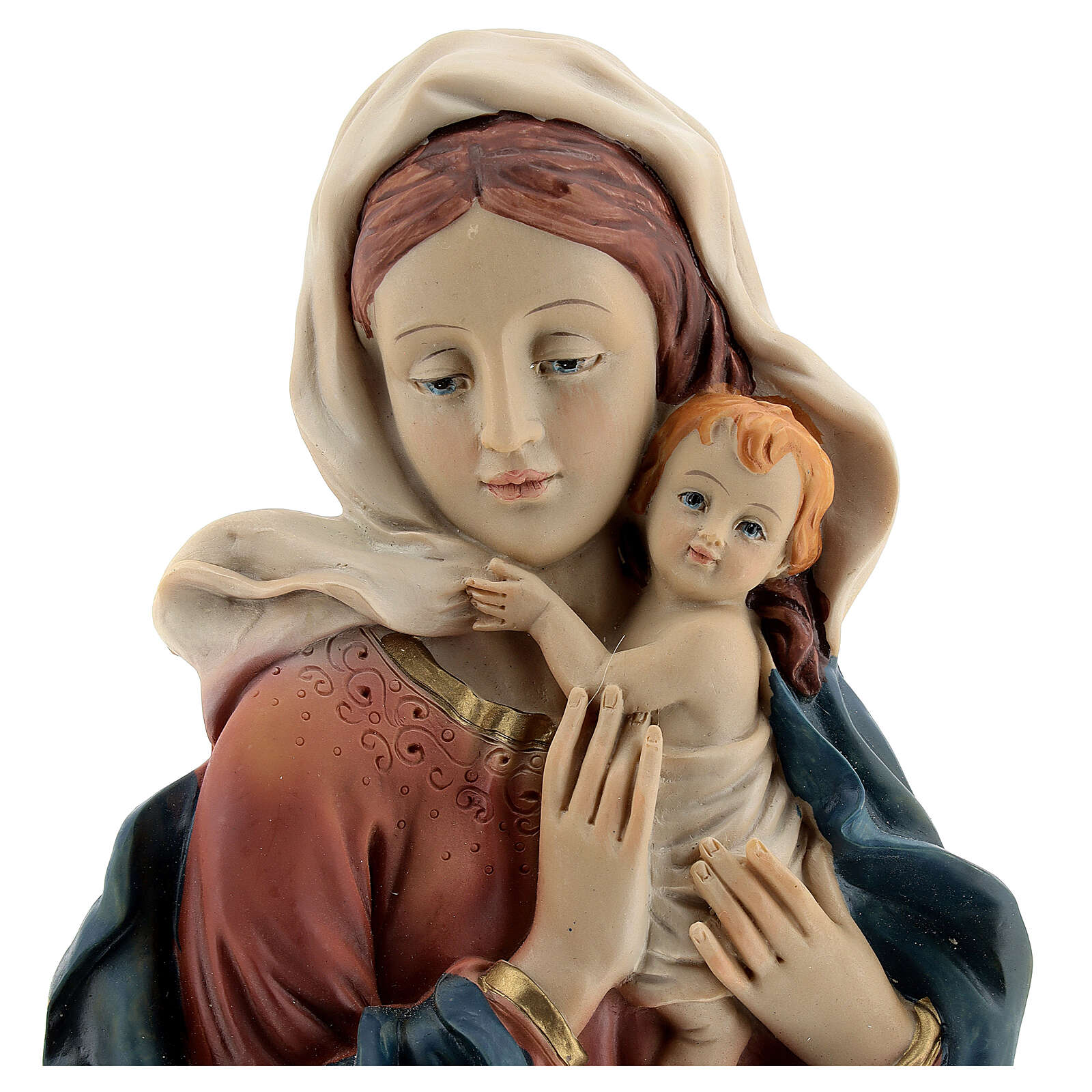 Bust of Madonna and Child with drapery, 18 cm in resin 4