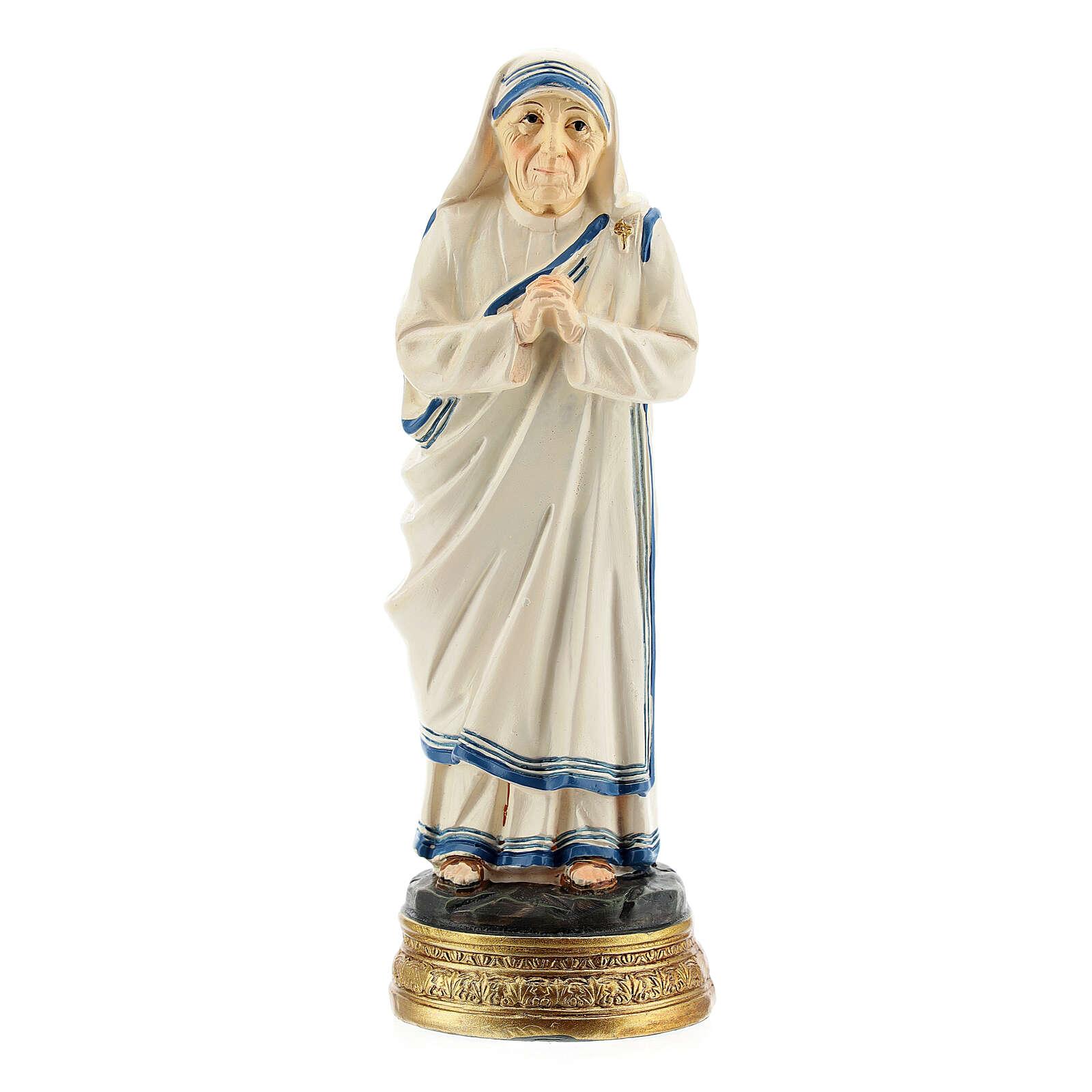 Statue Mère Teresa mains jointes résine 12,5 cm 4