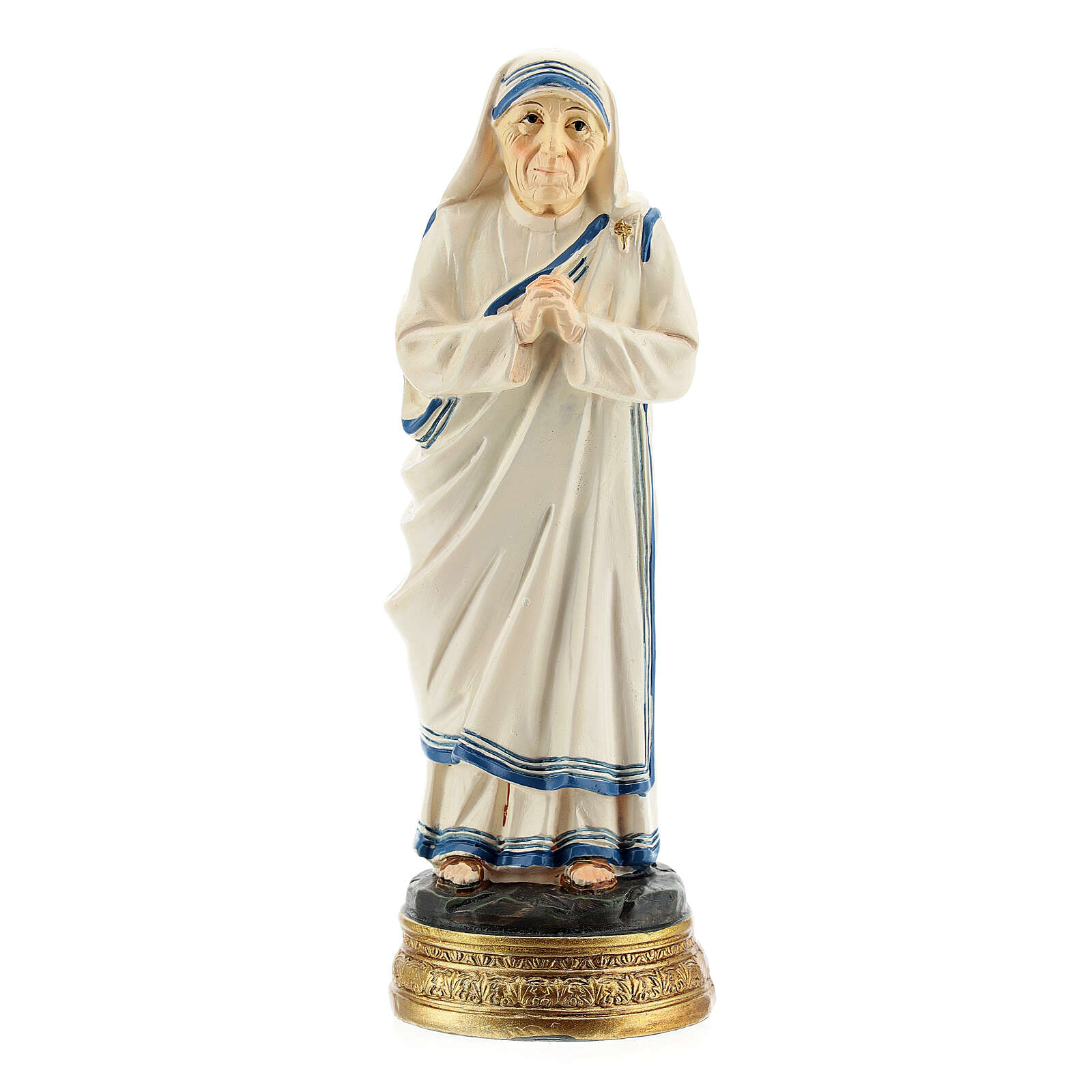 Statue of St Mother Teresa of Calcutta, joined hands in resin 12.5 cm 4