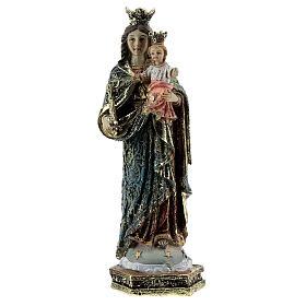 Statue Marie Auxiliatrice sceptre robe décorée résine 13,5 cm s1