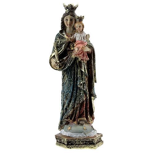 Statue Marie Auxiliatrice sceptre robe décorée résine 13,5 cm 1