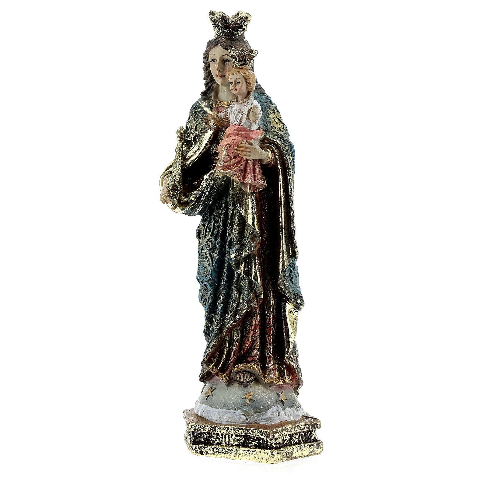 Statua Maria Ausiliatrice scettro vesti decorate resina 13,5 cm 4