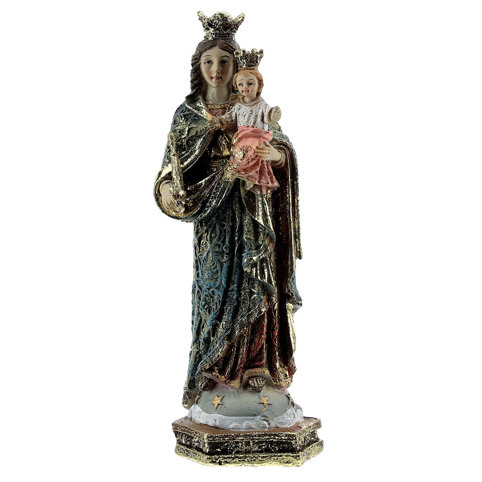 Our Lady of Perpetual Help statue, scepter decorated robes in resin 13.5 cm 4