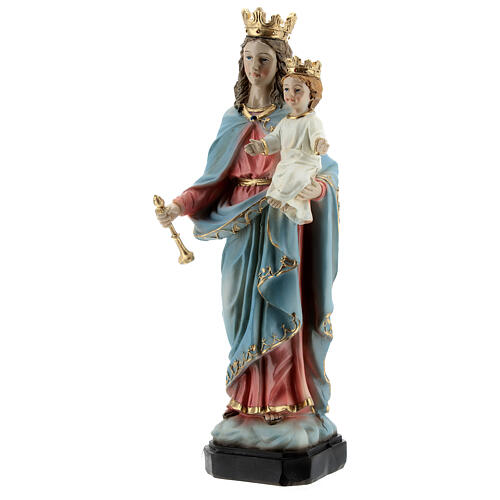 Statue Our Lady of Help wood effect base resin 20 cm 3