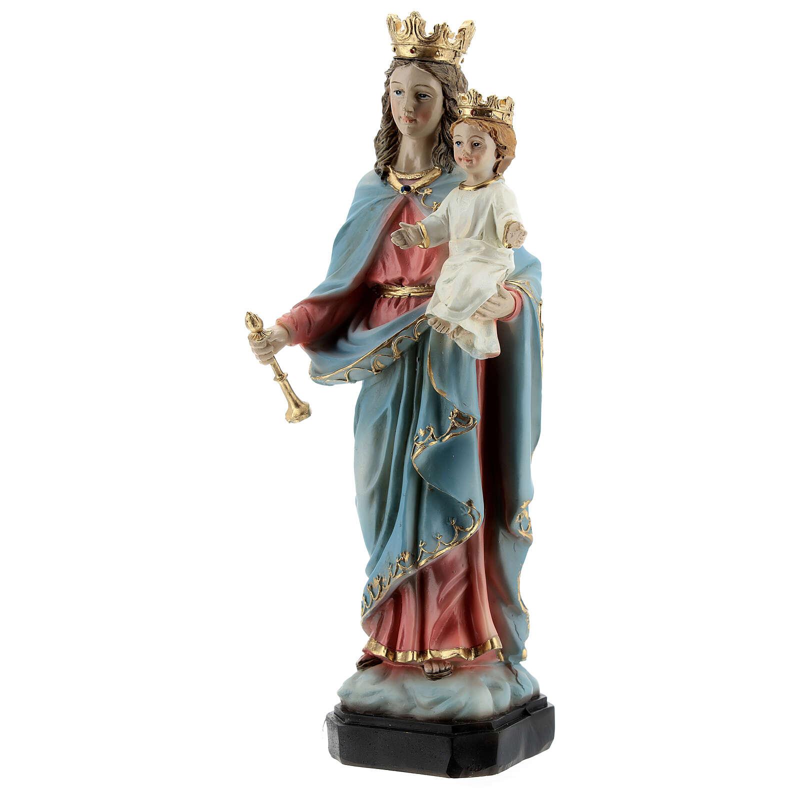 Statue Marie Auxiliatrice base effet bois résine 20 cm 4