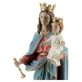 Statue Marie Auxiliatrice base effet bois résine 20 cm s2
