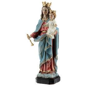 Statue Marie Auxiliatrice base effet bois résine 20 cm s3