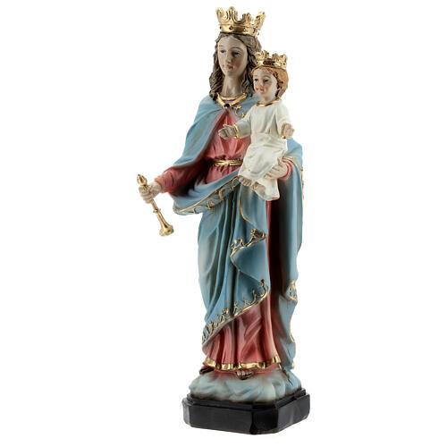 Statue Marie Auxiliatrice base effet bois résine 20 cm 3