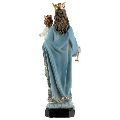 Statue Marie Auxiliatrice base effet bois résine 20 cm 5