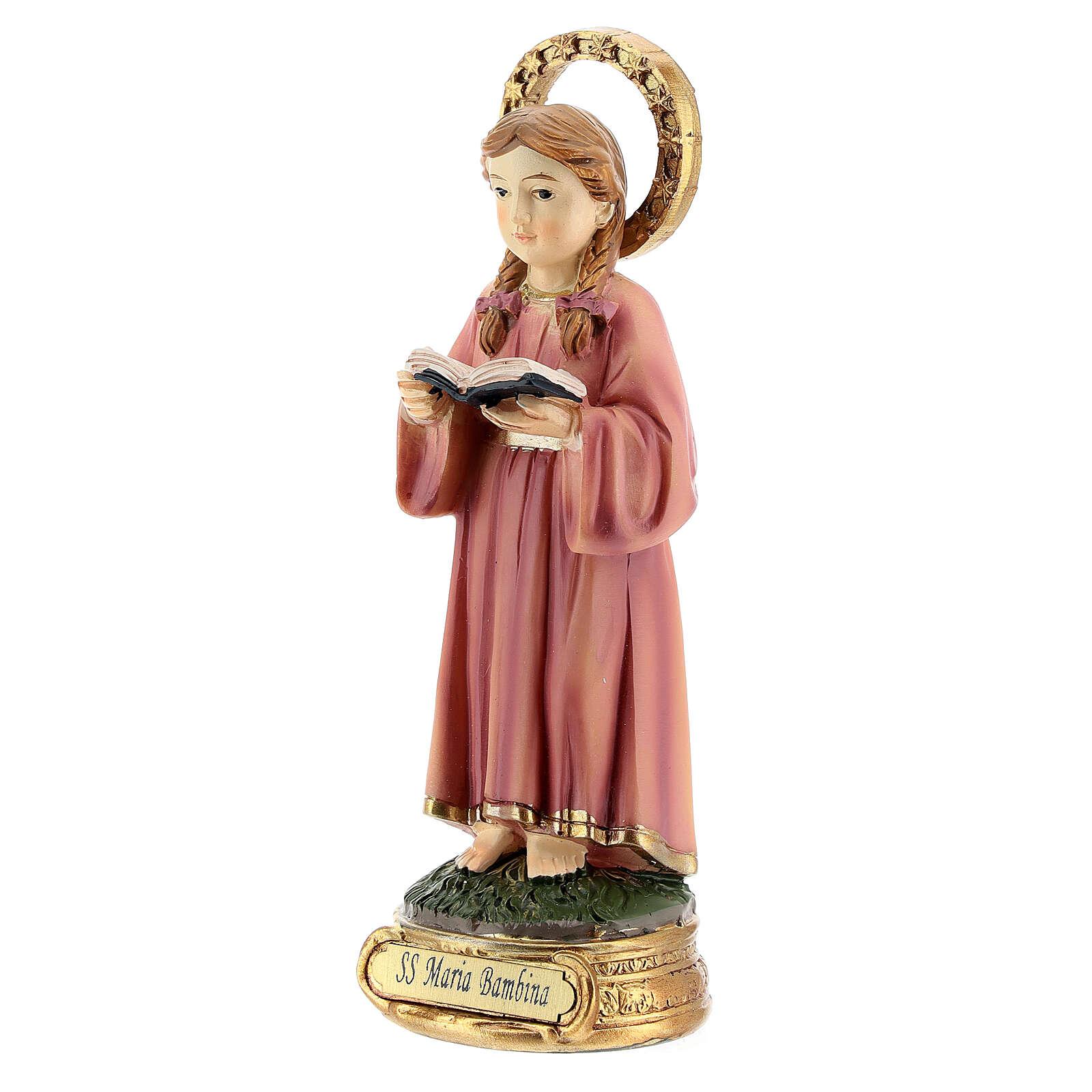 Santissima Maria bambina studio scritture statua resina 12,5 cm 4