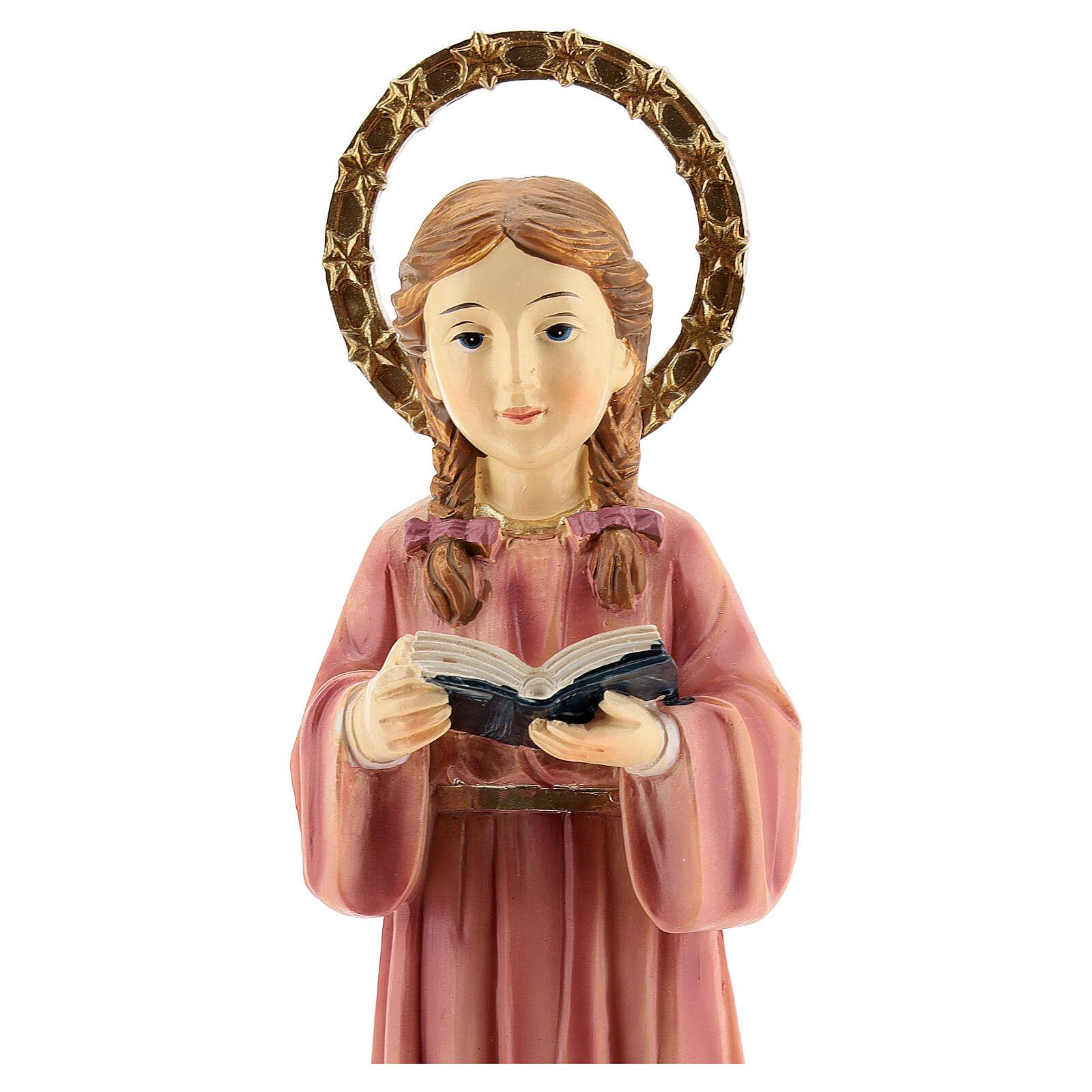 Statue Marie Enfant tresses résine 20x6,5x6 cm 4